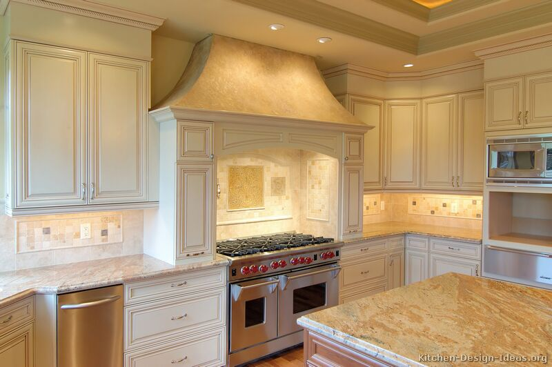 Pictures of kitchens traditional off white antique for White kitchen cabinets with crown molding