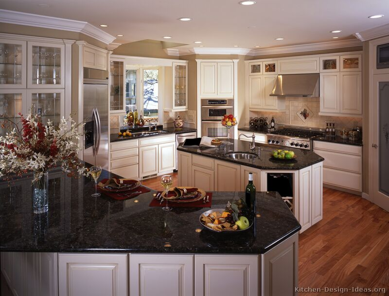 Black Granite Colors Gallery - Green kitchen cabinets with black countertops