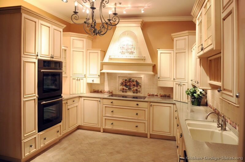 Pictures Of Kitchens Traditional OffWhite Antique Kitchen - Antique kitchen lighting ideas