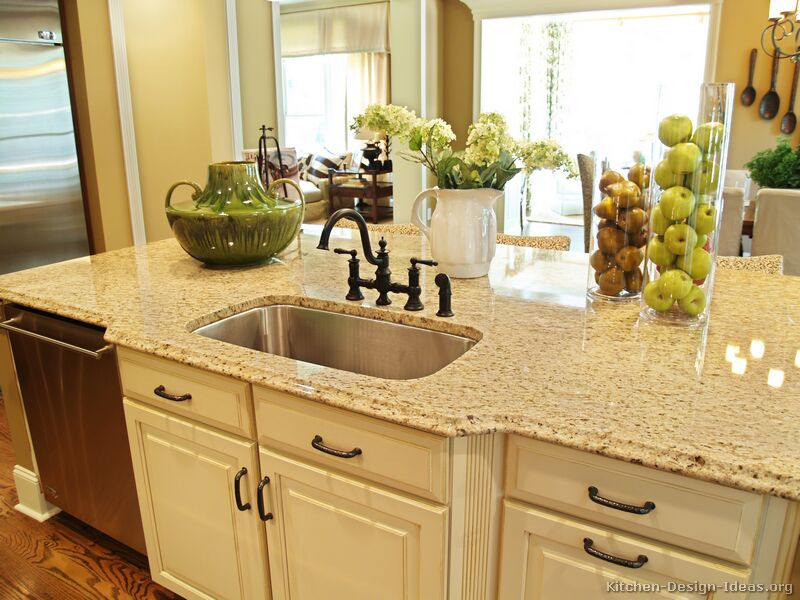 Pictures of kitchens traditional off white antique White kitchen cabinets with granite countertops photos