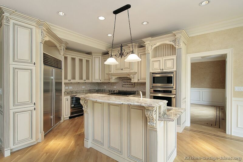 62, Traditional Antique White Kitchen
