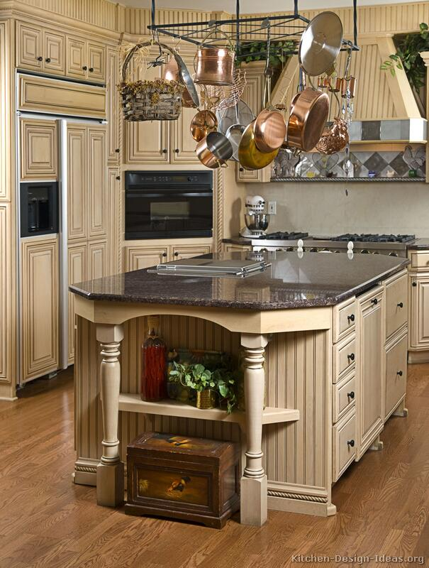 Pictures of kitchens traditional off white antique for Antique kitchen island
