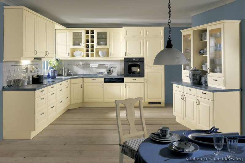 Kitchens with white cabinets casual cottage for White and blue kitchen ideas