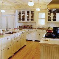 Pictures of kitchens traditional off white antique for Kitchen cabinets 75 off