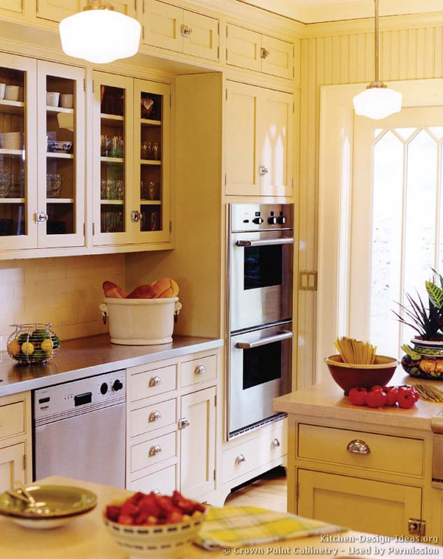 Pictures of kitchens traditional off white antique for Double kitchen cabinets