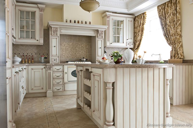 Pictures of kitchens traditional off white antique for Vintage kitchen designs photos