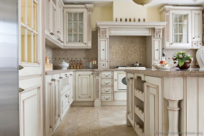 Pictures of kitchens traditional off white antique for Old kitchen ideas