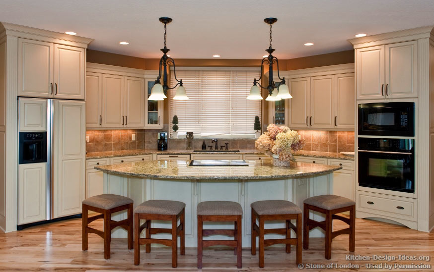 Stone of london pictures of kitchen countertops for Open kitchen island ideas
