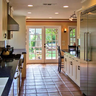 Classic Kitchen, Spanish Tile Floor, Sconces - Designer Kitchens LA