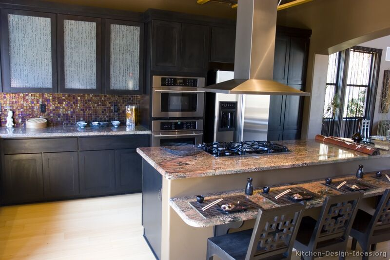 Pictures of kitchens traditional black kitchen for Black kitchen cabinets
