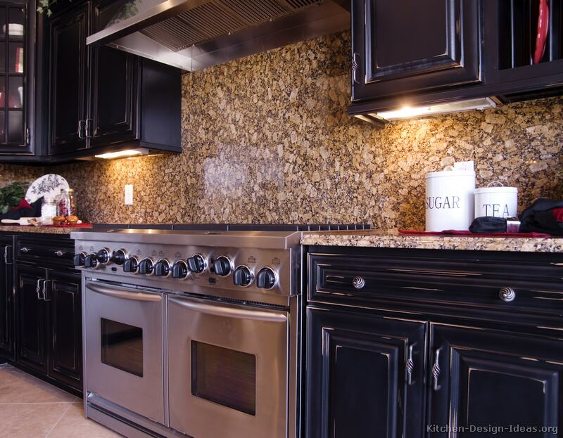 Pictures of kitchens traditional black kitchen cabinets for Backsplash ideas with black cabinets