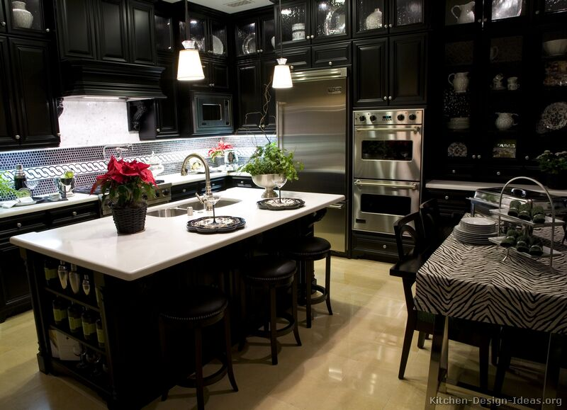 Pictures of kitchens traditional black kitchen cabinets for Black and white kitchen cabinet designs