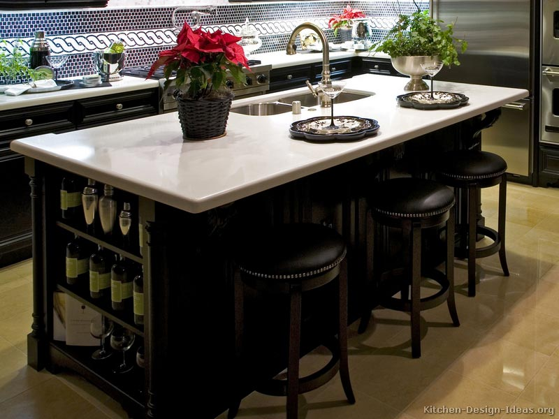 Furniture-Style Black Kitchen Island with Pure White Countertops