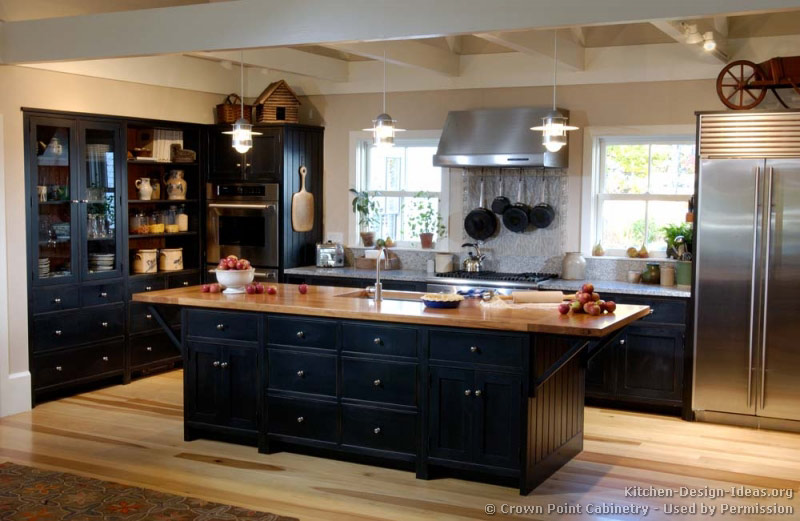 Pictures of kitchens traditional black kitchen cabinets for Dark wood kitchen ideas
