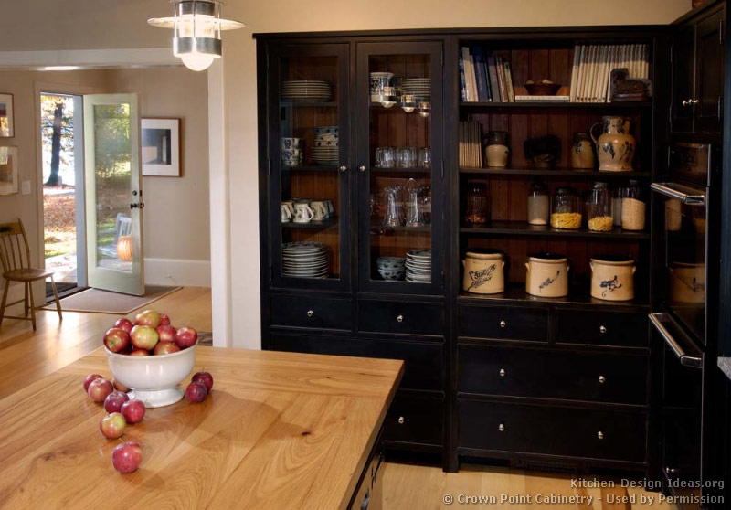 Pictures of kitchens traditional black kitchen for Black kitchen cabinets photos