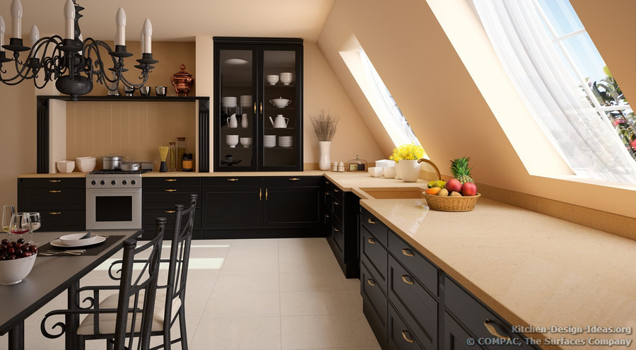 Compac quartz pictures of kitchen countertops surfaces for Black and beige kitchen