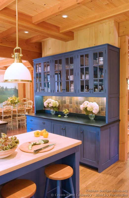 Pictures of kitchens traditional blue kitchen cabinets for Blue kitchen paint ideas