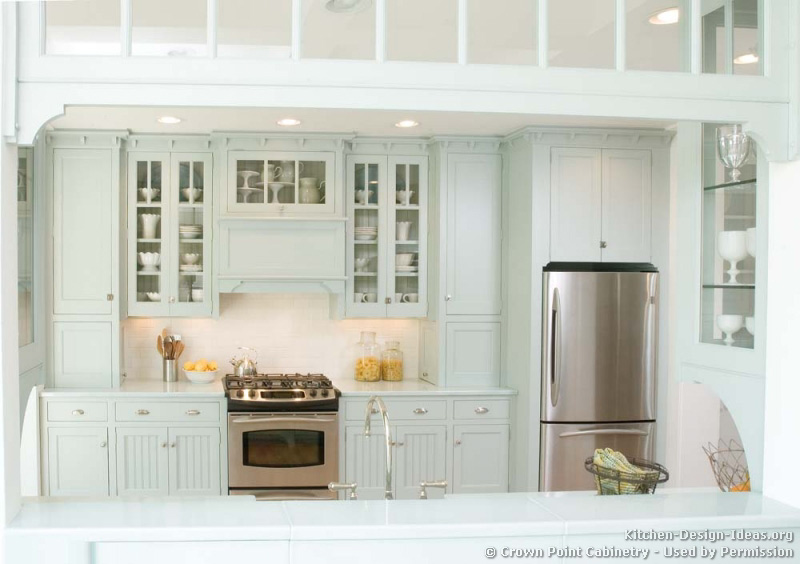 Traditional Blue Kitchen Cabinets #06