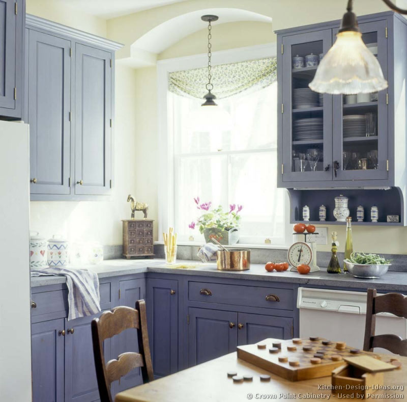 ... of Kitchens - Traditional - Blue Kitchen Cabinets (Kitchen #4