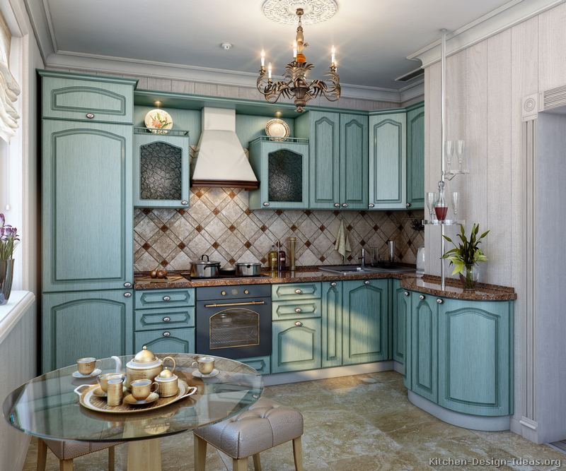 Pictures of kitchens traditional blue kitchen cabinets for Dark blue kitchen paint