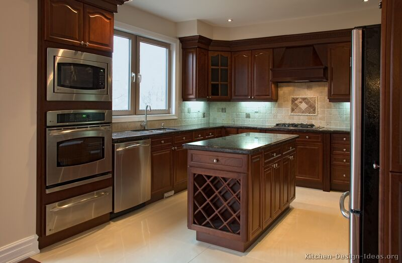 Pictures of kitchens traditional dark wood cherry for Dark wood kitchen ideas