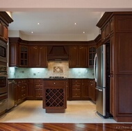 Traditional Dark Wood-Cherry Kitchen