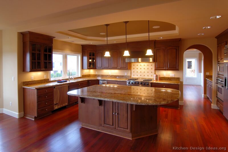 traditional dark wood cherry kitchen - Cherry Kitchen Cabinets
