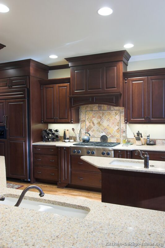 of kitchens traditional dark wood cherry color kitchen 3