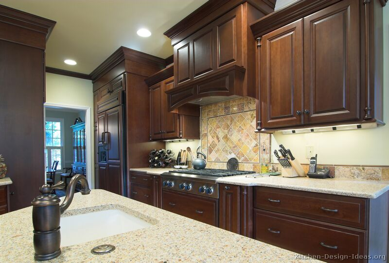 Pictures of kitchens traditional dark wood cherry for Traditional dark kitchen cabinets