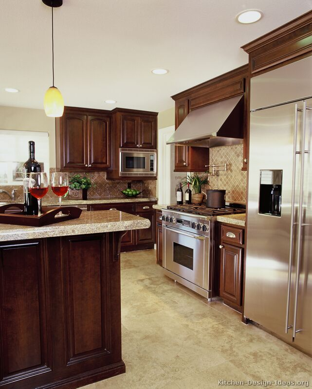 Kitchen Floor Tile Dark Cabinets: A Luxury Kitchen With Cherry Cabinets And A Large Island