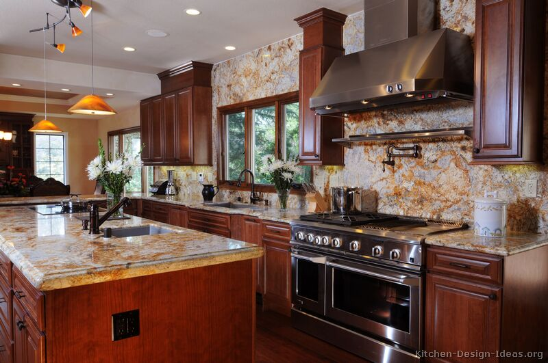 Cherry Cabinet Kitchen Designs Glamorous Pictures Of Kitchens  Traditional  Dark Wood Kitchens Cherrycolor Design Ideas