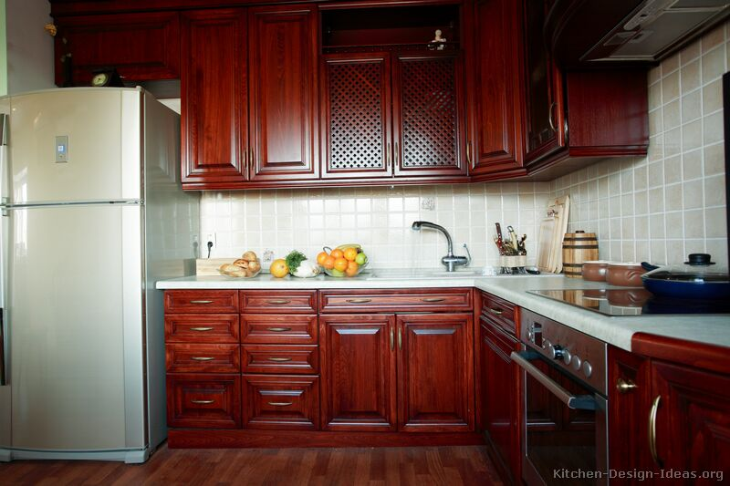 of Kitchens  Traditional  Dark Wood, Cherry Color (Kitchen #9