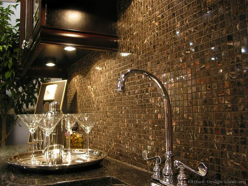 A Mosaic Tile Backsplash Featuring 5/8 Inch Square Michelangelo Marble Tiles