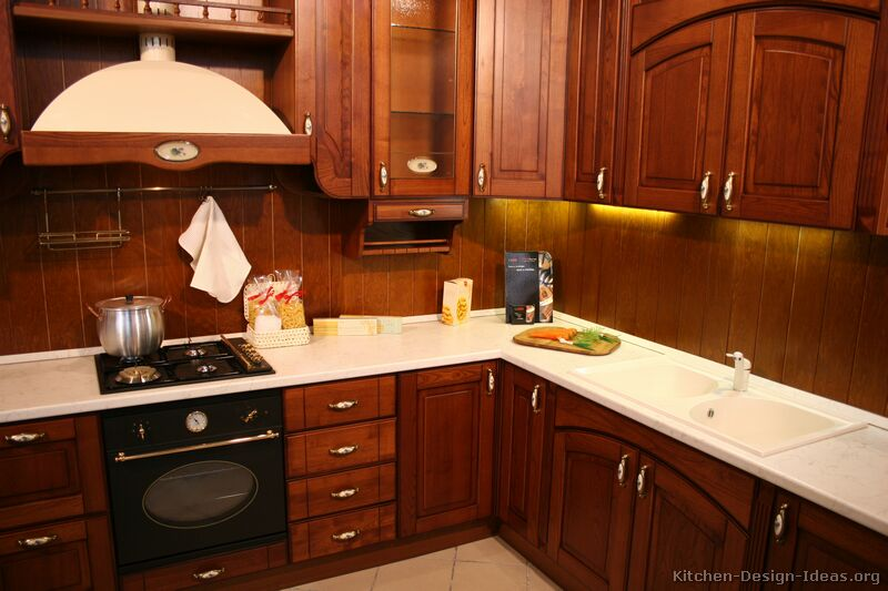 traditional dark wood cherry kitchen