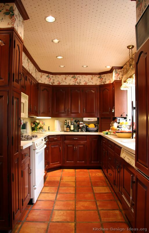 16, Traditional Dark Wood Cherry Kitchen