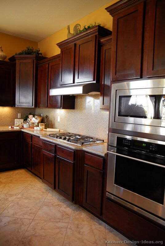Pictures of kitchens traditional dark wood kitchens for Cherry kitchen cabinets