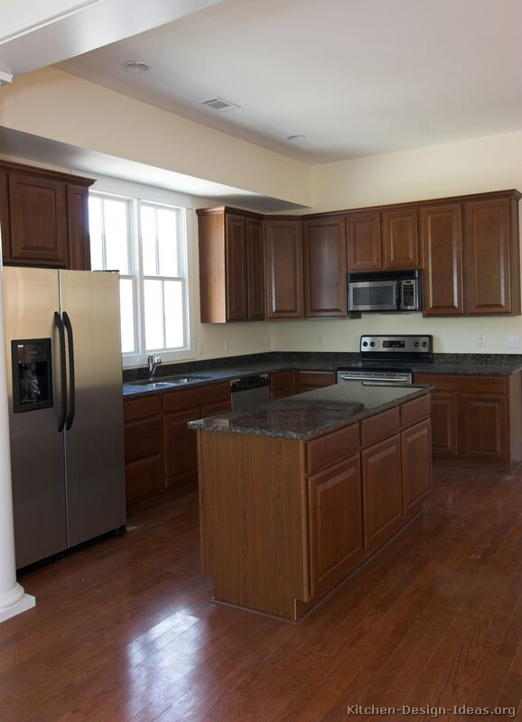 Pictures of kitchens traditional dark wood kitchens for Floor kitchen cabinets