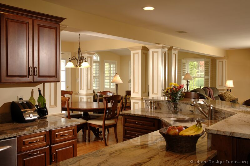 Pictures of kitchens traditional dark wood kitchens cherry color Manufactured home interior design ideas