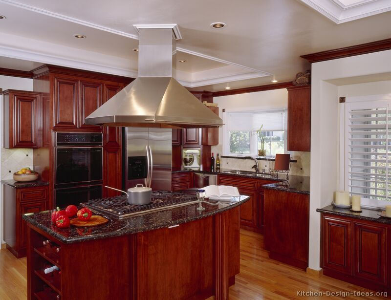 Pictures of kitchens traditional dark wood kitchens for Cherry wood kitchen cabinets