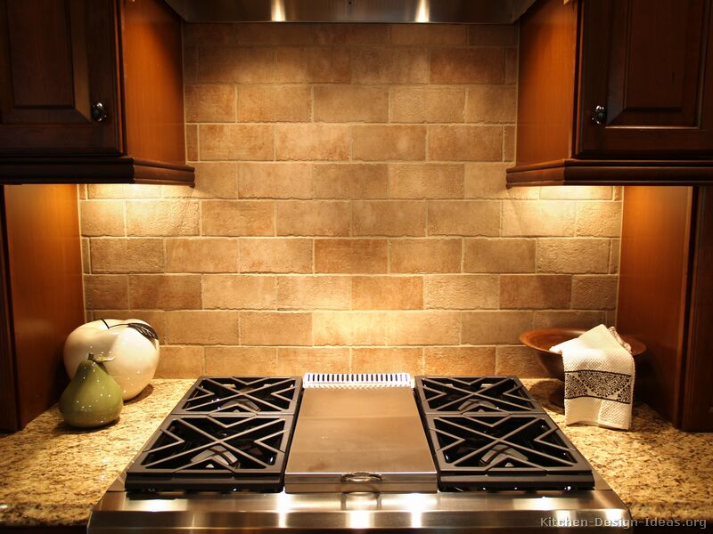 Pictures of kitchens traditional dark wood kitchens cherry color page 2 - Traditional kitchen tile backsplash ideas ...