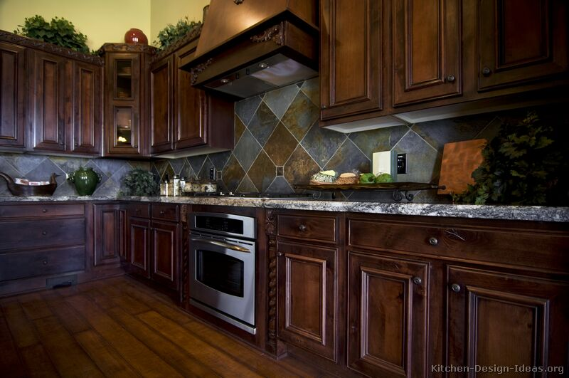32, Traditional Dark Wood Cherry Kitchen