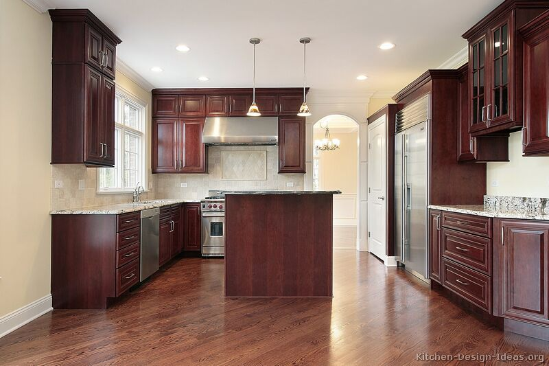 Pictures of kitchens traditional dark wood kitchens cherry color page 2 Kitchen design mahogany cabinets