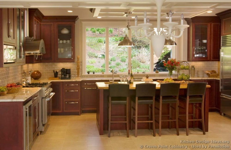 Pictures of kitchens traditional dark wood cherry for Kitchen accent colors