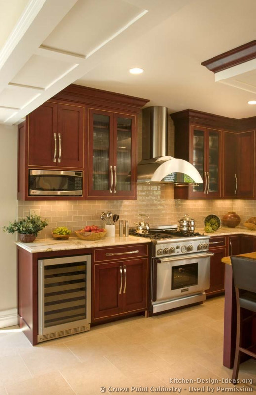 Pictures of kitchens traditional dark wood cherry for Cherry wood kitchen cabinets