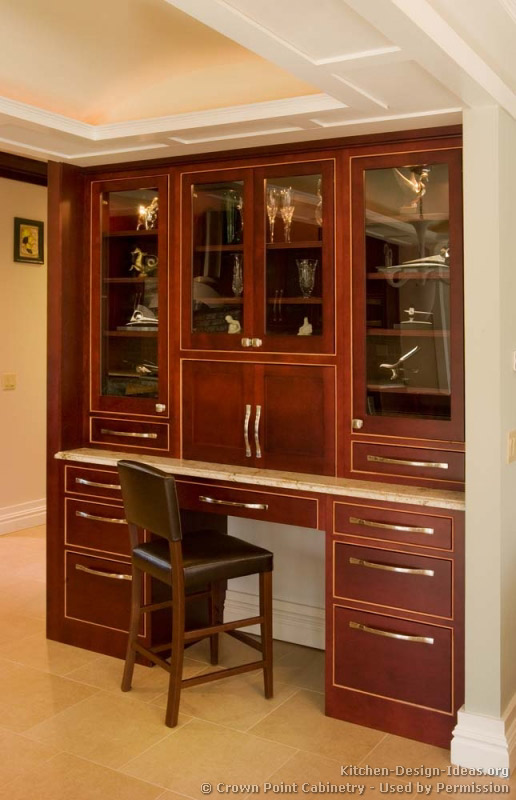 Pictures of kitchens traditional dark wood cherry for Cherry kitchen cabinets with glass doors
