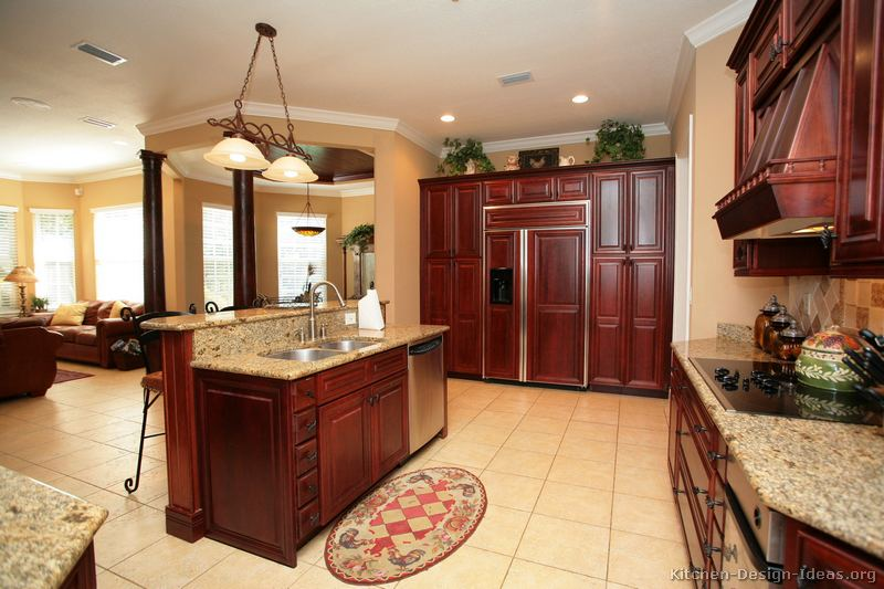 Pictures of kitchens traditional dark wood cherry color kitchen 48 - Cherry wood kitchen ideas ...
