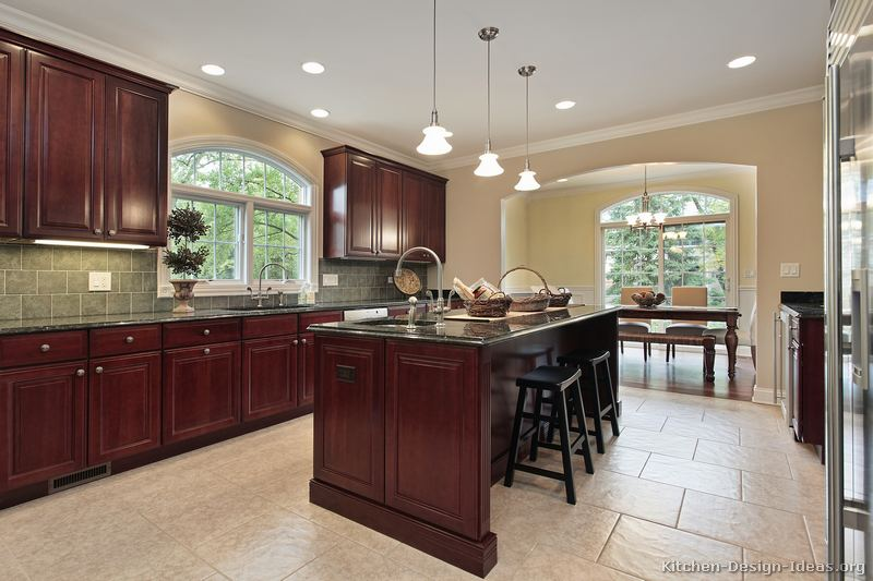 Pictures of kitchens traditional dark wood cherry color kitchen 49 Wood kitchen design gallery