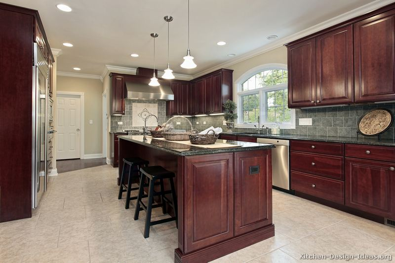 Pictures Of Kitchens Traditional Dark Wood Cherry Color Kitchen 49