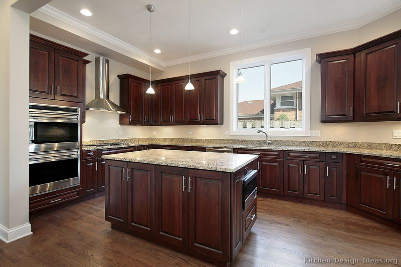 Cherry Kitchen Cabinets with Dark Wood Floors 800 x 533