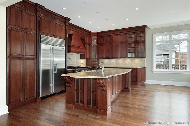 Cherry kitchen dark floors pictures to pin on pinterest for Cherry kitchen cabinets